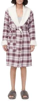 UGG Anika Fleece-Lined Brushed Flannel Robe