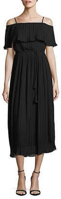 ABS by Allen Schwartz COLLECTION Pleated Cold-Shoulder Dress