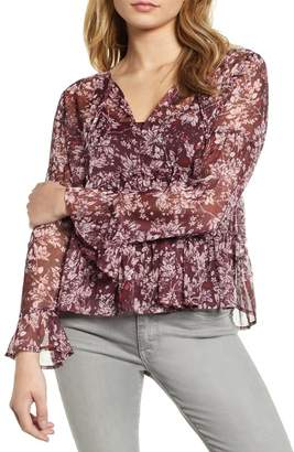 Lucky Brand Bell Sleeve Printed Top