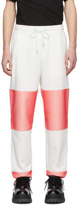 Feng Chen Wang White and Pink Contrast Striped Lounge Pants