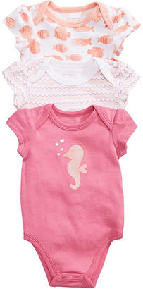 First Impressions 3-Pack Printed Cotton Bodysuits, Baby Girls, Created for Macy's