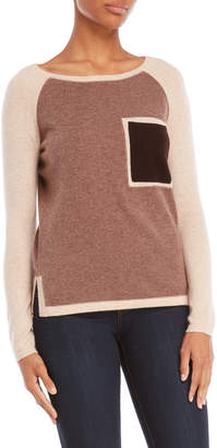 In Cashmere Color Block Pocket Sweater