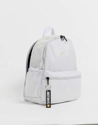 Nike gray and iridescent just do it mini backpack