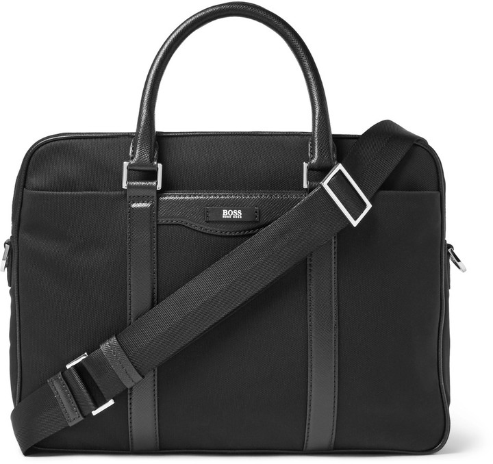 Hugo Boss Hugo Boss Leather-Trimmed Canvas Briefcase