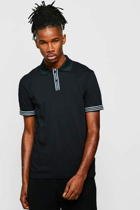 boohoo Party Polo With Tape Cuff
