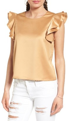 Women's Soprano Ruffle Sleeve Satin Blouse $35 thestylecure.com