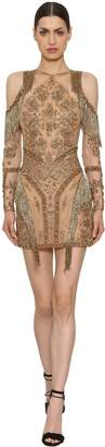 Murad Zuhair Sequins & Beads Fringed Sheer Dress
