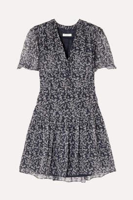 Equipment Lisle Floral-print Silk-chiffon Mini Dress - Navy