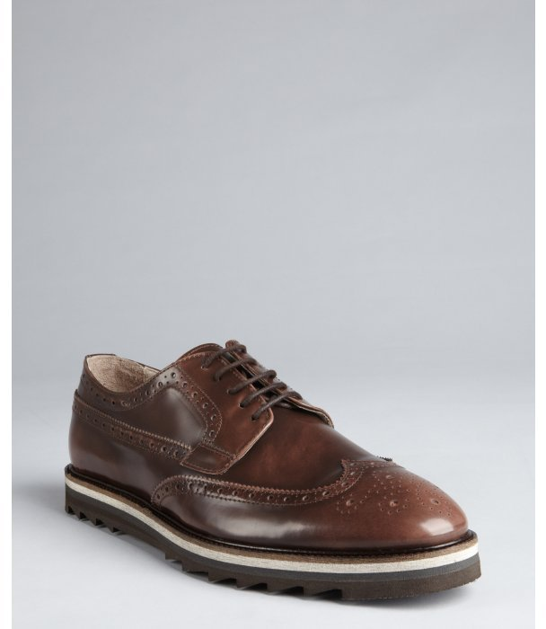 Rogue brown leather 'Rodman' lace up oxfords