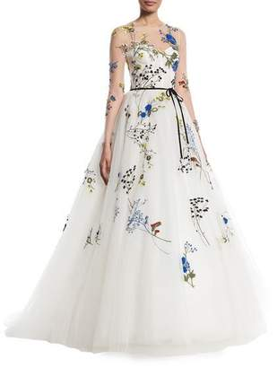 Monique Lhuillier Floral-Embroidered Long-Sleeve Illusion A-Line Evening Gown
