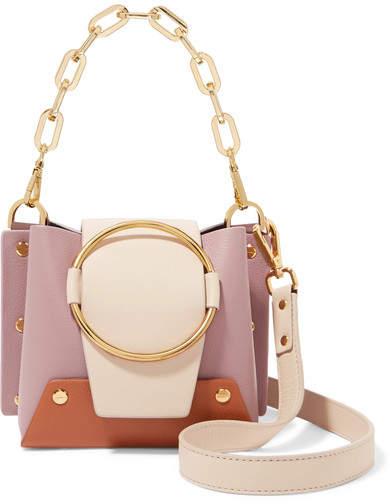 Yuzefi - Delila Mini Color-block Textured-leather Shoulder Bag - Baby pink