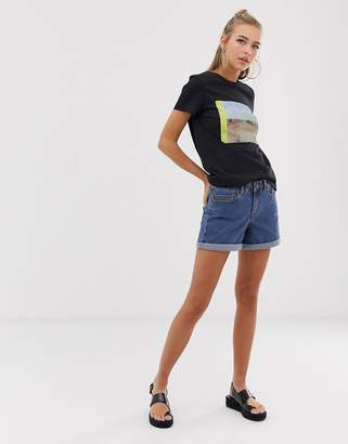 Noisy May Roll Hem Denim Short