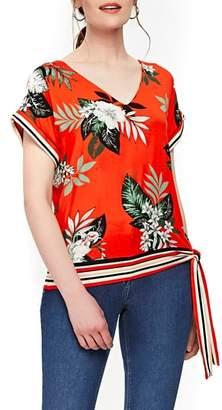 Wallis Tropical Print Side Tie Top