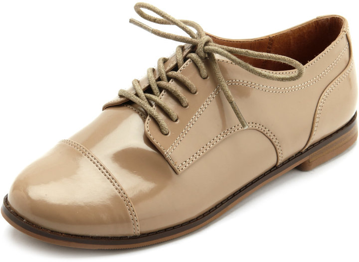 Charlotte Russe Lace-Up Patent Oxford Flat