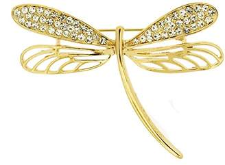 Jodie Rose Gold Plated Crystal Dragonfly Brooch