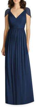 Jenny Packham V-Neck Cap-Sleeve Lux Chiffon Column Bridesmaid Gown w/ Cutout Back