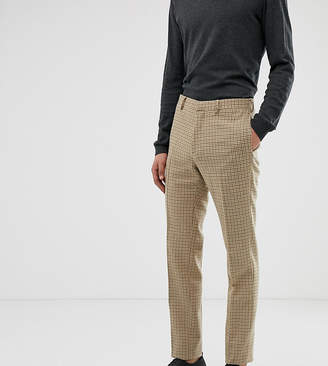 Asos Design DESIGN Tall wedding skinny suit trousers in stone micro check
