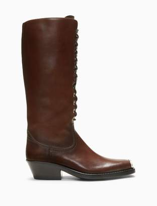 Calvin Klein western lace-up boot in calf leather with 205 silver toe plate