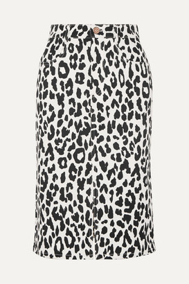 See by Chloe Leopard-print Denim Midi Skirt - White