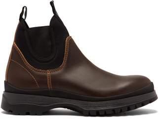 Prada Brixxen Neoprene Panelled Leather Chelsea Boots - Mens - Brown