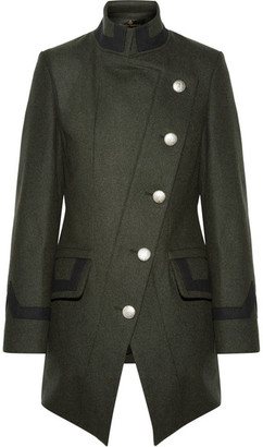 Vivienne Westwood Anglomania - State Asymmetric Wool-blend Coat - Army green