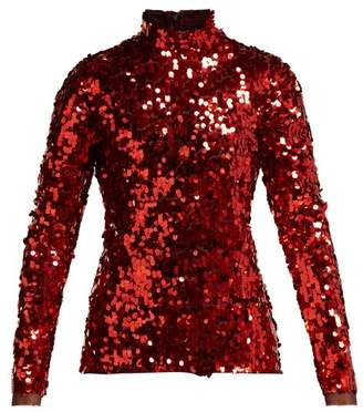 Dolce & Gabbana - Sequinned High Neck Top - Womens - Red