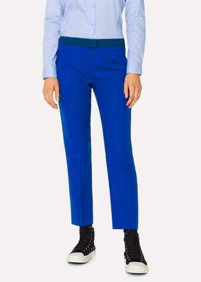 Paul Smith Women's Slim-Fit Cobalt Blue Wool-Hopsack Pants With Contrast Waistband