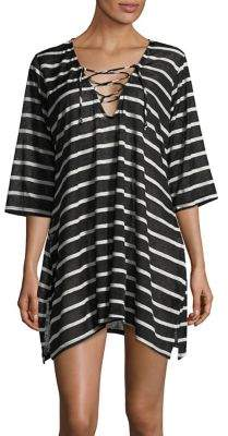 J Valdi Striped Lace-Up Coverup