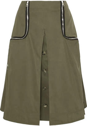 J.W.Anderson Zip-detailed Twill Midi Skirt - Army green