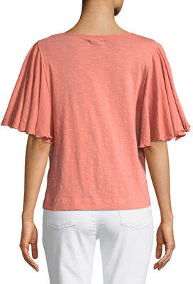 Chelsea & Theodore Flutter-Sleeve Pullover Tee