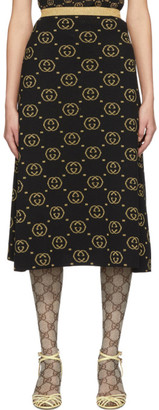 Gucci Black and Gold Wool GG Skirt