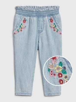 Gap Floral Embroidered Denim Pants