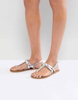 8c50009e4336 Asos Silver Leather Women s Sandals - ShopStyle