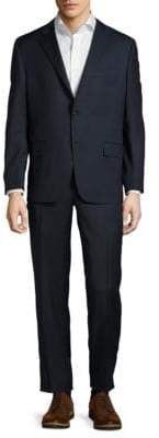 Hickey Freeman Milburn Solid Notch-Lapel Wool Suit