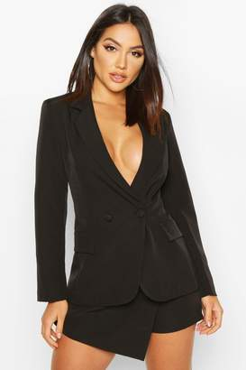 boohoo Double Breasted Long Line Blazer