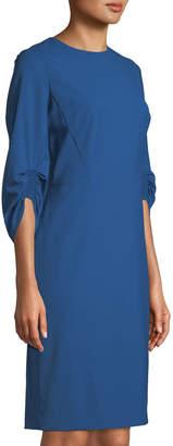 Lafayette 148 New York Erland Ruched-Sleeve Sheath Dress, Blue