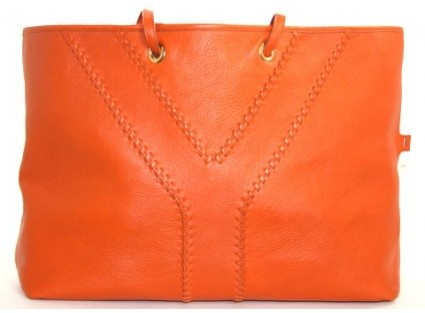 Yves Saint Laurent excellent (EX) YSL Orange & Brown Neo Double Leather Tote