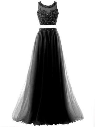 2adf21620f2c3 Solovedress Women's Two 2 Pieces Beaded Long Prom Dress Tulle Formal  Evening Gown (,US
