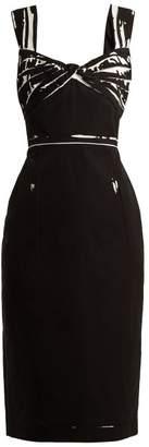 Prada - Overprinted Print Cotton Dress - Womens - Black White