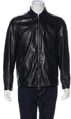 Canali Leather Zip Jacket