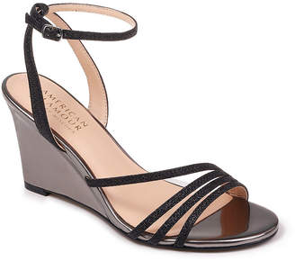 Badgley Mischka AMERICAN GLAMOUR American Glamour Womens Party Pumps Buckle Open Toe Wedge Heel