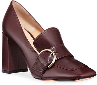 Gianvito Rossi Square-Toe Loafer Pumps