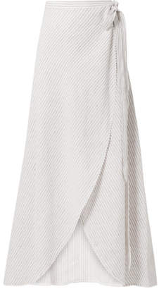 Miguelina Ballerina Crochet-trimmed Striped Linen Wrap Maxi Skirt - Off-white