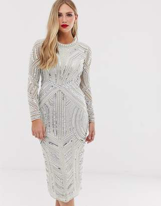 Asos Edition EDITION sequin and pearl midi bodycon dress with cut out back