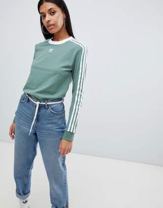 adidas Three Stripe Long Sleeve T-Shirt In Green