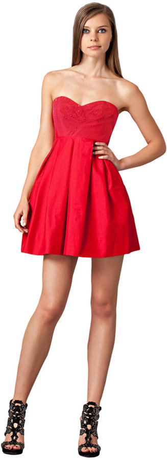 JILL JILL STUART Strapless Red Mini Dress