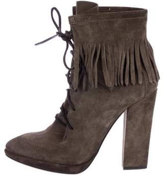 Giuseppe Zanotti Suede Lace-Up Ankle Boots Olive Suede Lace-Up Ankle Boots