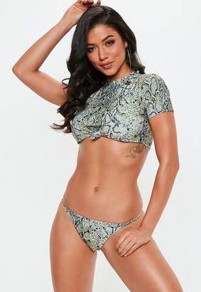 Missguided Snake Print Short Sleeve Bikini Top