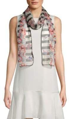 Valentino Silk Stripe & Floral Scarf