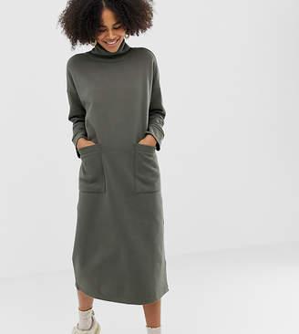Monki roll neck midi dress with oversized pockets in khaki